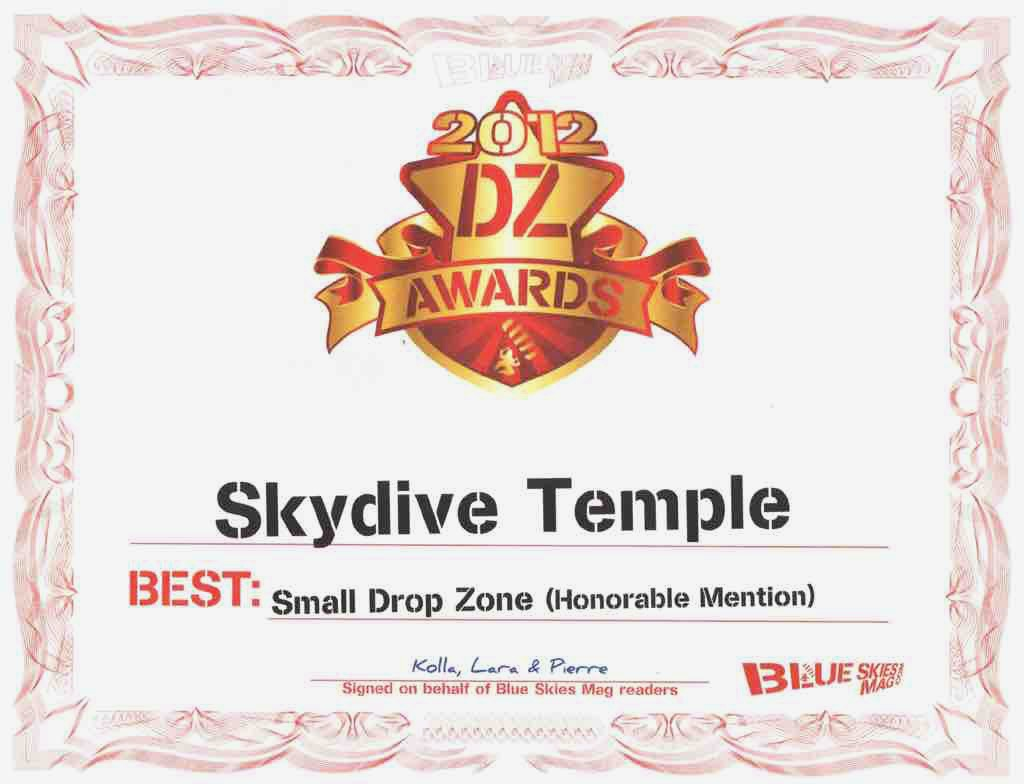 Skydive Temple DZ Award